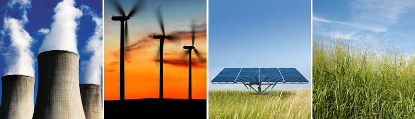 nuclear, wind turbines, solar panel, grass